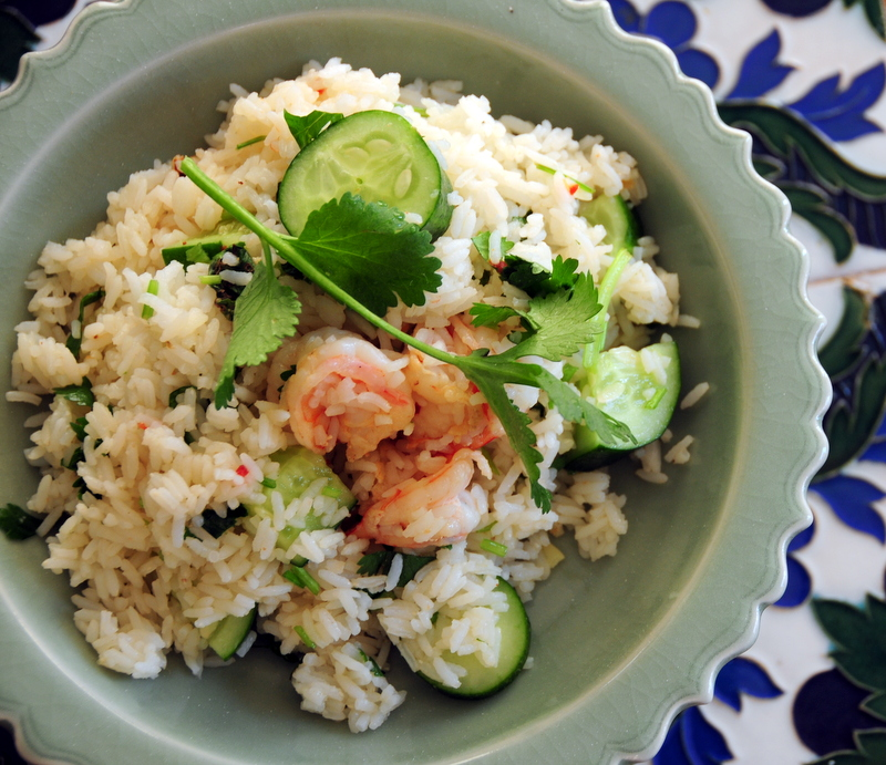 southeast Asian-style shrimp and Persian cucumber with rice